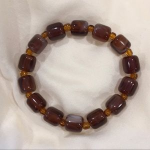 Brown marbled glass beads stretch elastic bracelet